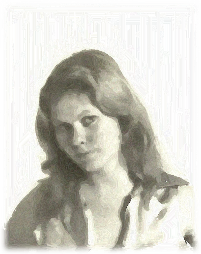 A Younger Cage, as a young woman with a searing gaze