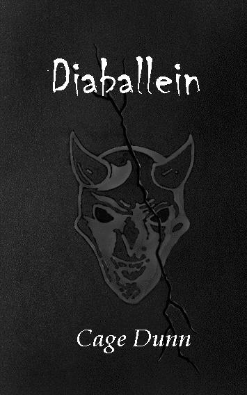 Book cover: Diaballein, a black rock with graffiti of a devil's head