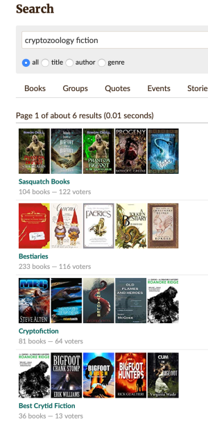 Screenshot of book covers for several cryptozoology fiction lists on Goodreads Listopia
